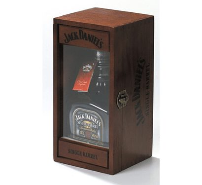 single bottle Wooden Whiskey Box with glass viewing window - premium whiskey gift box