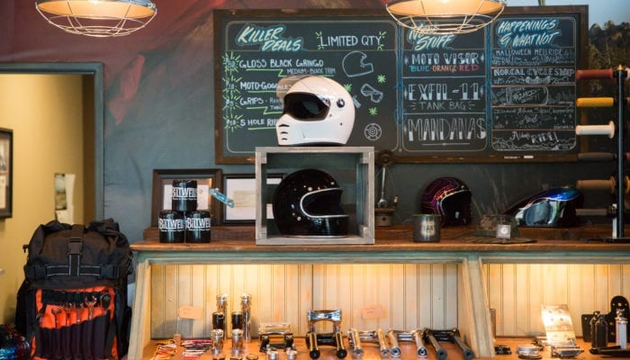 premium in store crate style wooden retail display for helmets -Biltwell - Golden State Box Factory