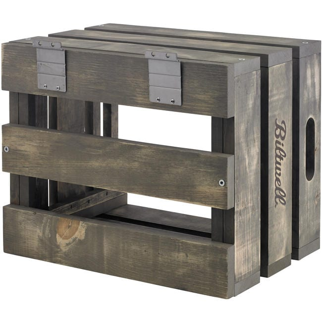 Wooden Retail Display Crate with metal accents and hardware - custom branded and weathered pos display