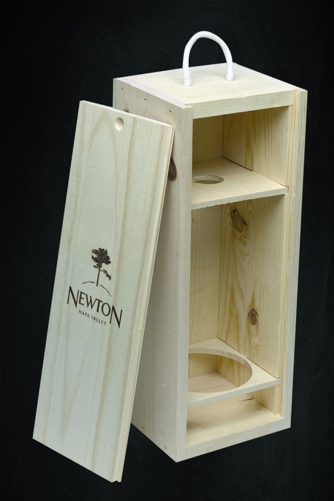 single bottle wooden wine box with sliding lid and hot branding logo - Newton Vineyards