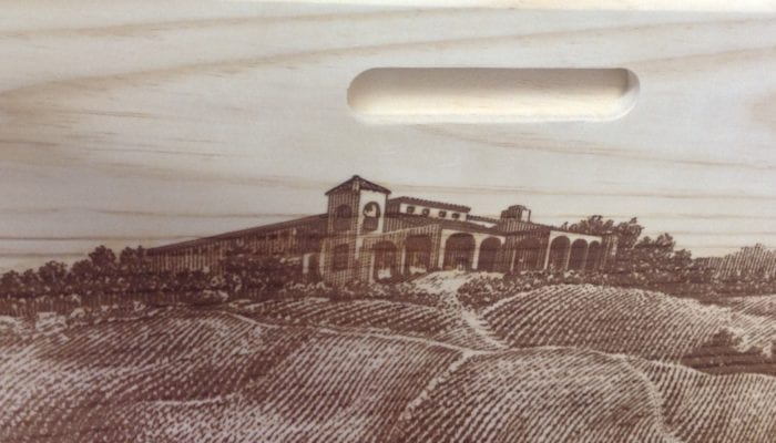 firebranding on wooden wine box with detailed vineyard - Golden State Box Factory
